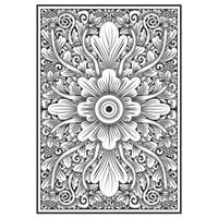 Floral carved wood effect pattern vector