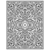Vintage carved wood effect floral pattern  vector