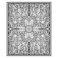 Vintage wood carved effect damask floral pattern  vector