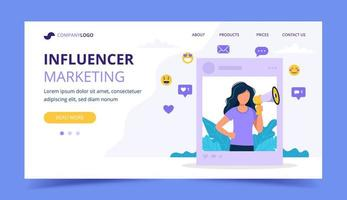 Influenciador marketing landing page com mulher segurando o megafone