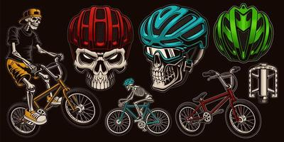 Colorful Skull Cyclist Set  vector