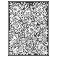 Hand drawn etched effect floral pattern vector