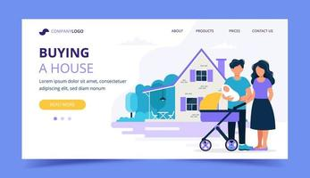 Landing page template for mortgage, buying a house, real estate concept