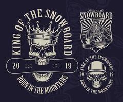 Set of Snowboard Skull Theme Designs vector
