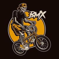 Skeleton BMX Bike Jump Design vector