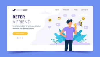 Refer a friend landing page with man holding megaphone