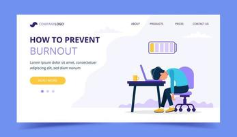 Burnout landing page with upset person vector