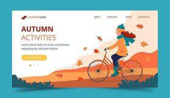 Girl riding bike in the park in autumn. Landing page template