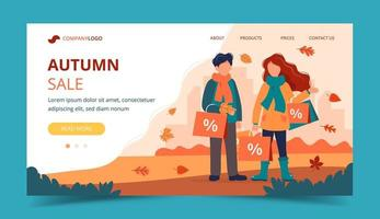 Man and woman with sales bags in autumn. Landing page template