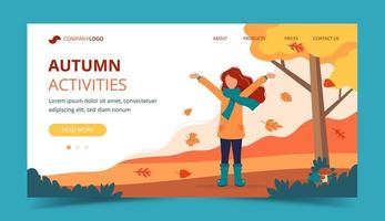 Girl playing with leaves in the park in autumn. Landing page template