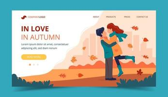 Loving couple in autumn. Landing page template