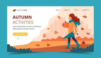 Girl with a pumpkin in autumn. Landing page template