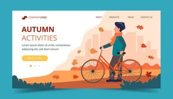 Man with a bike in autumn. Landing page template
