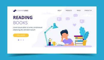 Boy reading a book landing page