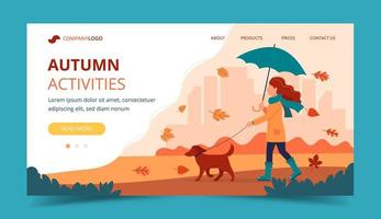Woman walking a dog in autumn with umbrella. Landing page template