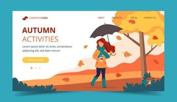 Woman with umbrella and coffee in autumn. Landing page template