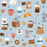Coffee pattern, different coffee elements vector