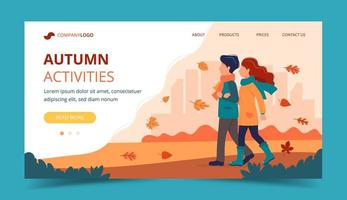 Couple walking in autumn. Landing page template