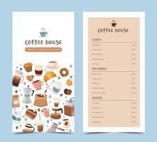 Coffee menu template with different coffee elements