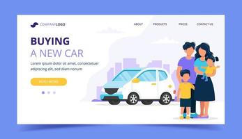 Family buying a car. Landing page template