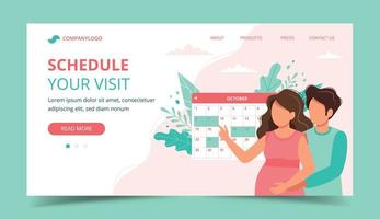 Couple scheduling an appointment with calendar. Landing page template vector