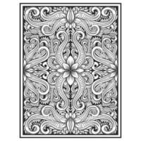 Vertical wood carved effect botanical pattern vector