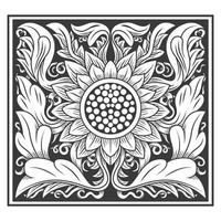 Ornate sunflower and leaves pattern