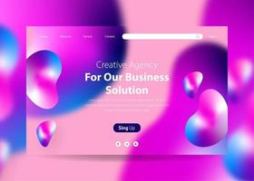 Landing Page with Gradient Background Liquid Effect