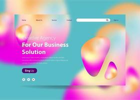 Landing Page Template with Gradient Background Liquid Effect