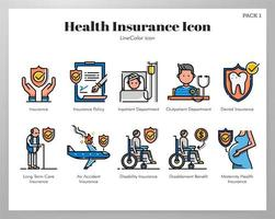 Health insurance icons Line Color pack vector