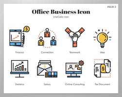 Office business icons Line Color pack