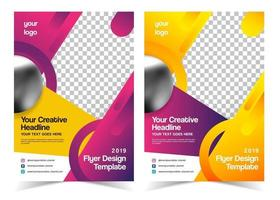 Set of Pink and Yellow Flyer Template