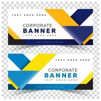 Business Banner Web with Yellow and Blue Shapes