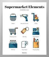 Supermarket elements Line Color pack vector