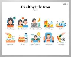 Healthy life icons flat pack