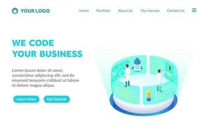 programming and coding isometric landing page template