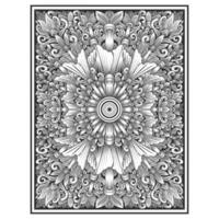 Vertical hand drawn wood carved effect floral pattern vector