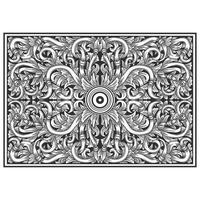 Wood carved effect horizontal botanical pattern vector