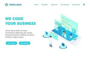 programming and coding isometric landing page template vector