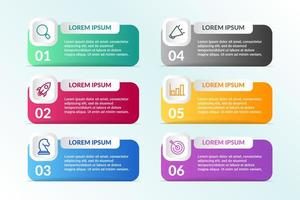 Lista de diseño infográfico con 6 listas para el concepto de negocio