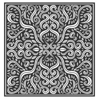Abstract leaf ornate floral wood carved pattern vector