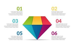 diamond Infographic design with options or list.