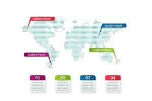 business infographic design with world map background