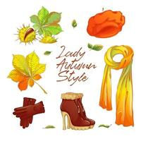 Autumn sticker set for fashionable lady vector