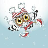Owl with striped hat ice skating  vector