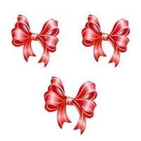 Set of red festive bows.