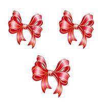 Set di fiocchi festivi rossi.