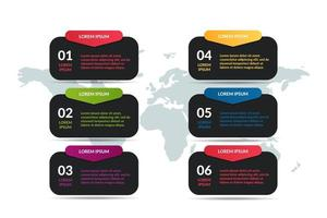 list infographic design with world map background