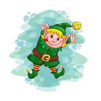 Christmas dancing elf  vector