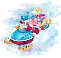 Piglet with birds riding a snowmobile